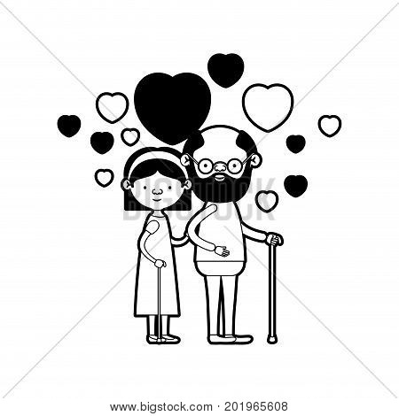 caricature full body elderly couple embraced with floating hearts grandfather in walking stick and grandmother with bow lace and short hair in black silhouette sections vector illustration