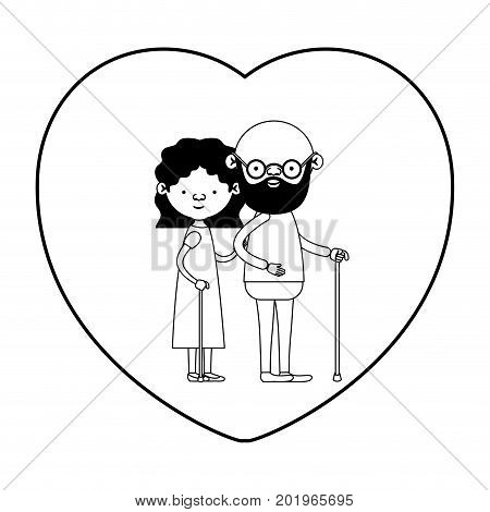 caricature full body elderly couple in walking stick with heart shape greeting card bearded grandfather in walking stick and grandmother with curly collected hair in black silhouette sections vector illustration