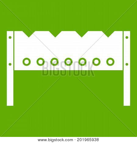 Brazier icon white isolated on green background. Vector illustration