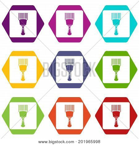 Bar code scanner icon set many color hexahedron isolated on white vector illustration