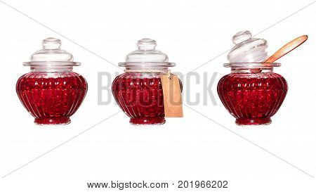 Banks with raspberry jam on a white background. Isolated. Three variants of packing a raspberry jam in a glass jar.