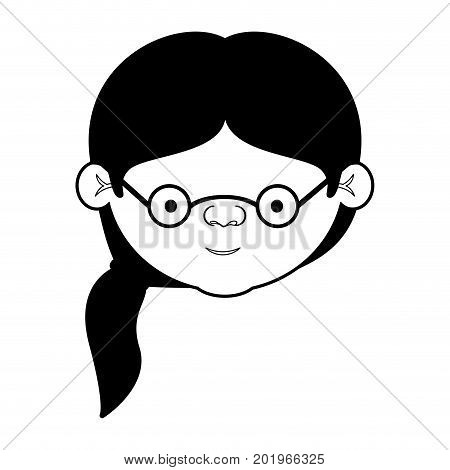 caricature face grandmother with a side ponytail hair and glasses in black silhouette sections vector illustration
