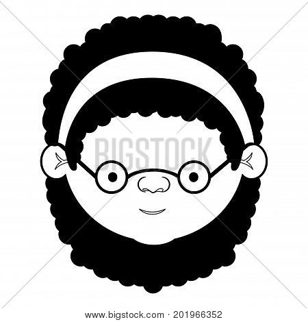 caricature face grandmother with a bow lace with curly hair and glasses in black silhouette sections vector illustration