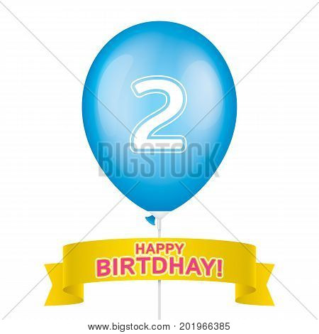 Second birthday greeting card vector design. Blue ballon with yellow ribbon isolated on a white background.