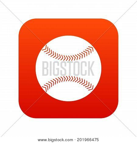 Baseball icon digital red for any design isolated on white vector illustration