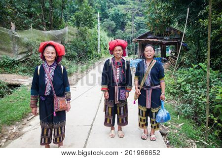 SA PA, VIETNAM - AUGUST 2017: Red dzao ethnic minority women in Ta Phin village, Sa Pa, Lao Cai province, Vietnam