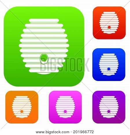 Beehive set icon in different colors isolated vector illustration. Premium collection