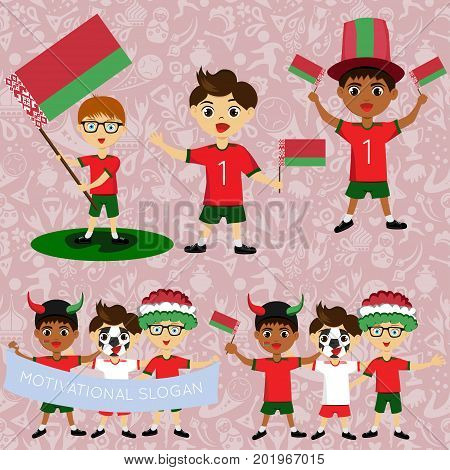 Set of boys with national flags of Belarus. Blanks for the day of the flag independence nation day and other public holidays. The guys in sports form with the attributes of the football team
