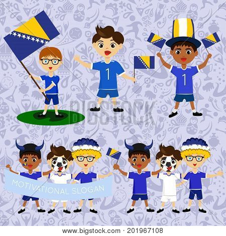 Set of boys with national flags of Bosnia and Herzegovina. Blanks for the day of the flag nation day and other public holidays. The guys in sports form with the attributes of the football team