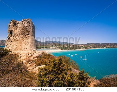 A view of the Spanish watchtower of Porto Giunco Villasimius Sardinia Italy.
