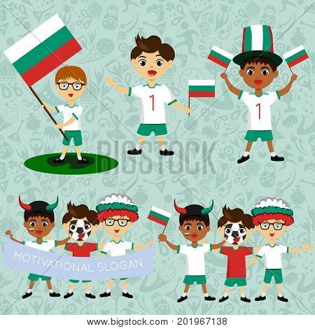 Set of boys with national flags of Bulgaria. Blanks for the day of the flag independence nation day and other public holidays. The guys in sports form with the attributes of the football team