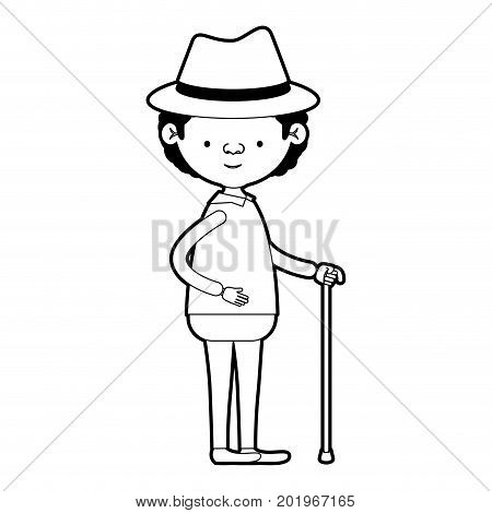 caricature full body grandfather in walking stick with curly hair in black silhouette sections vector illustration