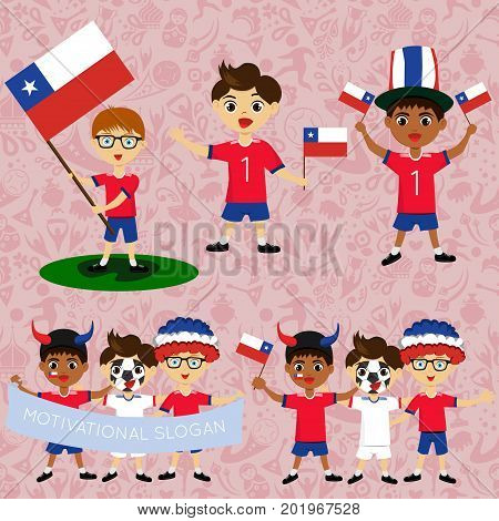 Set of boys with national flags of Chile. Blanks for the day of the flag independence nation day and other public holidays. The guys in sports form with the attributes of the football team