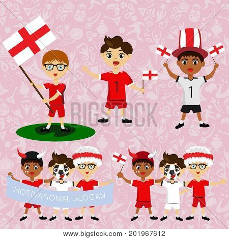 Set of boys with national flags of England. Blanks for the day of the flag independence nation day and other public holidays. The guys in sports form with the attributes of the football team