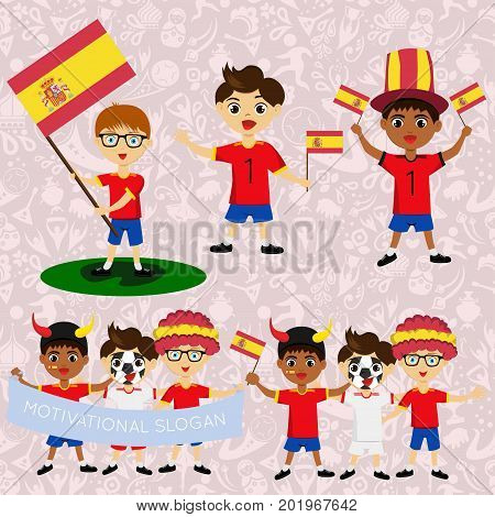 Set of boys with national flags of Spain. Blanks for the day of the flag independence nation day and other public holidays. The guys in sports form with the attributes of the football team