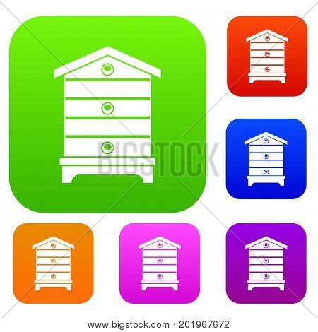 Hive set icon in different colors isolated vector illustration. Premium collection