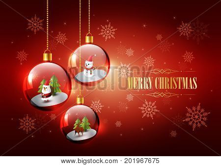 Merry Christmas with Santa Claus, Snowman and Reindeer in glass sphere, Hanging Christmas ball concept, vector illustration