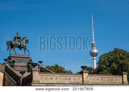 Berlin landmarks - TV Tower and statue of Frederick William IV -/ Friedrich Wilhelm