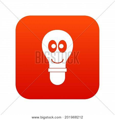 Smiling light bulb with eyes icon digital red for any design isolated on white vector illustration