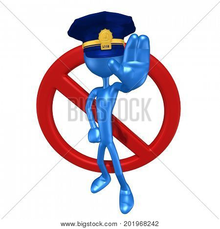 The Original 3D Character Police Officer Illustration With A No Symbol