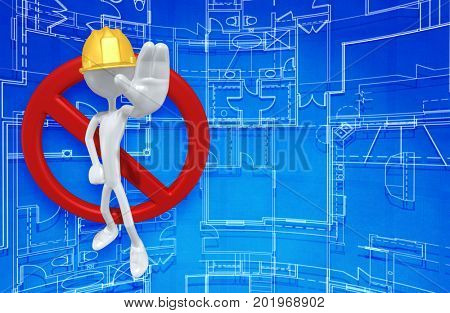 The Original 3D Character Construction Worker Illustration With A No Symbol