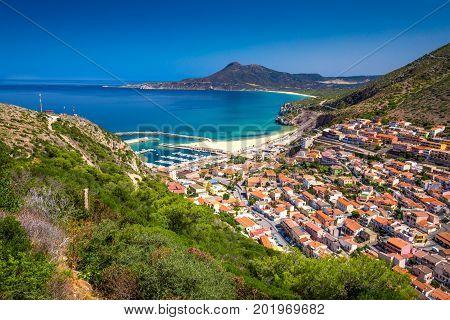 Buggerru Town Near Portixeddu Beach And San Nicolo, Sardinia, Italy.