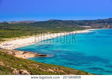 Beach Near Spaggia Di Masua Beach And Pan Di Zucchero, Sardinia, Italy.
