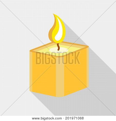 Square candle icon. Flat illustration of square candle vector icon for web
