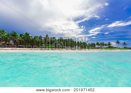 beautiful amazing tropical palm beach and tranquil turquoise ocean against blue sky background at Cuban Cayo Coco island