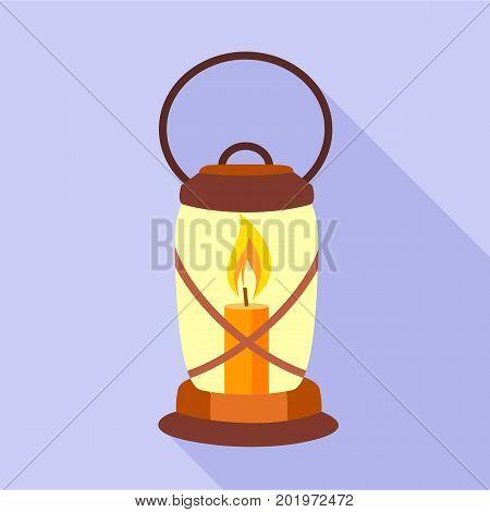 Lantern candle icon. Flat illustration of lantern candle vector icon for web