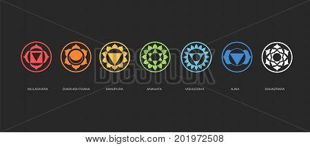 Chakras energy healing, sacred geometry vector symbols
