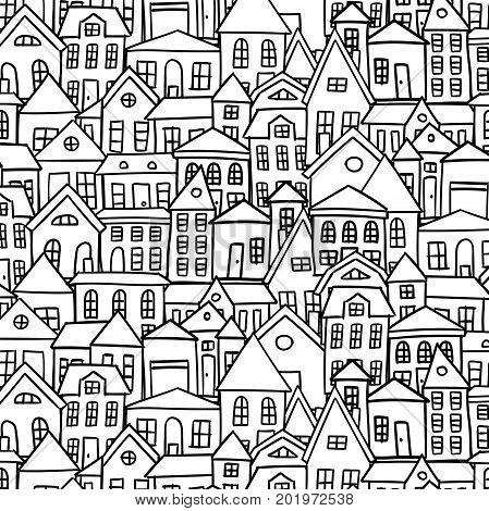 Doodle houses vector background black and white
