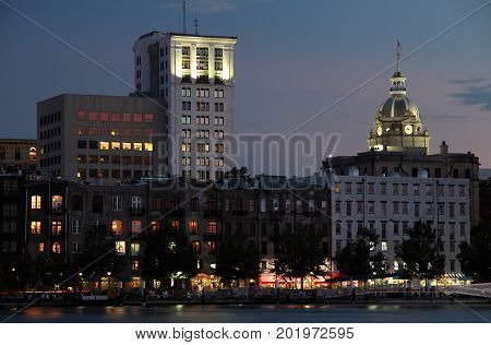 Skyline of the old port city of Savannah in the state of Georgia
