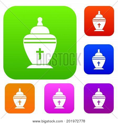 Urn set icon in different colors isolated vector illustration. Premium collection
