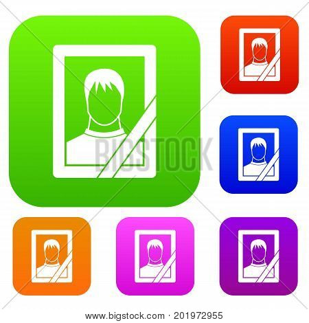 Memory portrait set icon in different colors isolated vector illustration. Premium collection