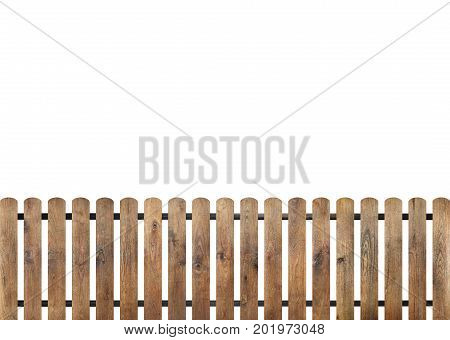 Wooden fence isolated on white background, copy space