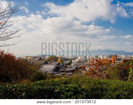 Beautiful landscape from hanami park during autumn season in Kyoto, Japan.