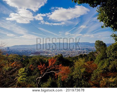 Beautiful view of landscape from hanami park during autumn season in Kyoto, Japan.