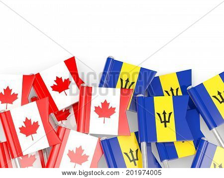 Flag Pins Of Canada And Barbados Isolated On White