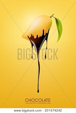 Ripe mango dipped in melting dark chocolate, fruit, fondue recipe concept, Vector illustration