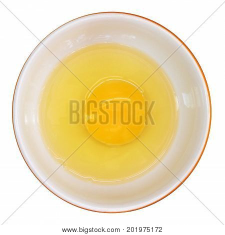 Top view of raw egg in a bowl, isolated on white