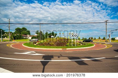 A new traffic roundabout in a northeast Ohio suburb