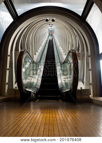 KYOTO, JAPAN - JULY 05, 2017: View of the spectacular escalator in Umeda Sky Building, a modern high rise skyscraper in the Kita district of Osaka in Japan.