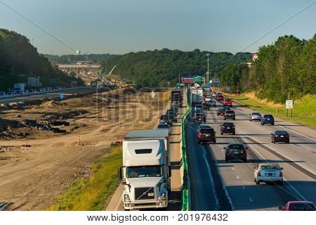 BEDFORD HEIGHTS OH - JUNE 28 2017: Diverted northbound traffic on I-271 near Cleveland during major highway work leaves makes for a congested morning rush hour.