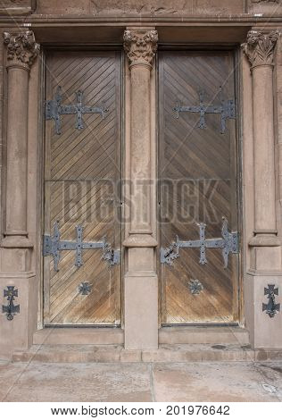 Boston,Massachusetts, USA August 2016: doors of the Boston Trinity Church