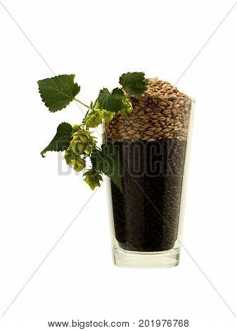 Barley and Hops in a Beer Glass on White