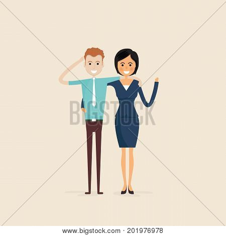 AdultMenWomenTwo best friends.Happy smiling young man and woman friends.Happy best friends meeting.Happy couple icon.Happy friends icon.Friendly hug and Friendship concept.Vector illustration.