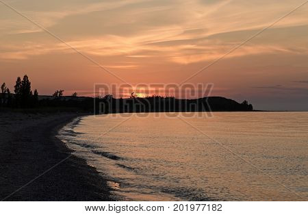 Twilight on a Wilderness Beach on Lake Michigan in Sleeping Beach Dunes National Lakeshore in Michigan