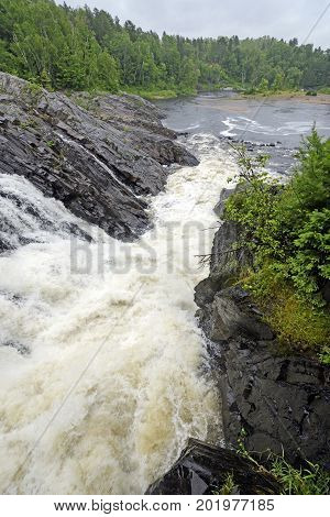 Dramatic Natural Chute in a Wild River in Chutes Provincial Park in Ontario Canada