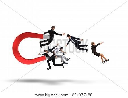 Big magnet attracts people. Capturing people with marketing